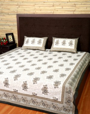 Floral Printed Off White Cotton Bed Sheet (Set