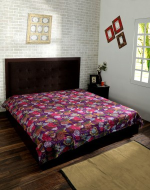 India Purple Kantha Quilt  Reversible Bedspread Handmade Cotton Floral Bedsheet Home Decor