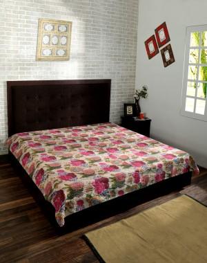 Fruit Printed Beige Cotton Handmade Reversible Kantha Bedspread