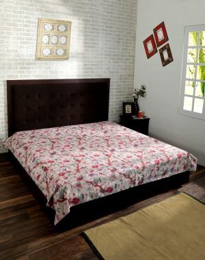 Bird  Kantha Quilt White, Kantha Blanket, Bed Cover,  bedspread, Bohemian Bedding Kantha Size