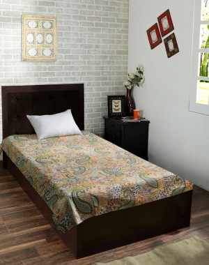 Pure Cotton Kantha Style Twin Size Quilt Bed Spread WITH COVER, Indian Gudri Bed Cover