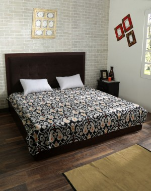 Black Kantha Style Cotton Quilt Abstract Print Queen Bedspread Gudri