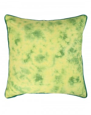 Emerald Green Cotton Slub Abstract Tie Dye Cushion Cover (Single Pc)