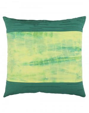 Ethnic Tie Dye Emerald Green Cotton Slub Cushion Cover (Single pcs )