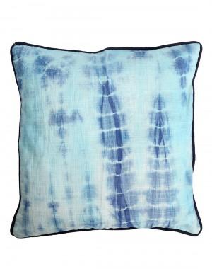 Dark Blue Cotton Slub Abstract Tie Dye Cushion Cover (Single Pc)