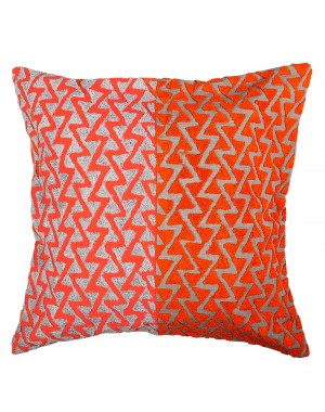 Orange Towel Embroidered Geometric Cotton Linen Cushion Cover