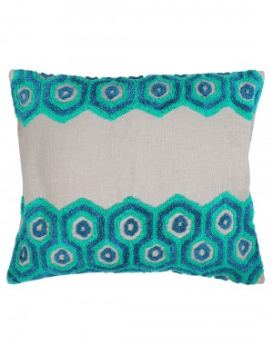 Towel Embroidered Geometric Patterned Cotton Linen Cushion Cover