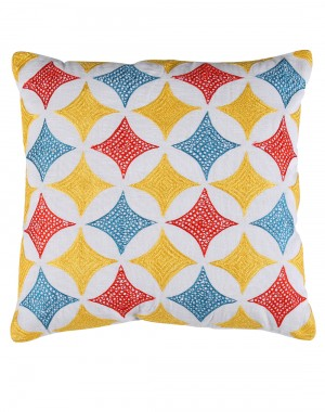 Geometric Towel Embroidered White Cotton Linen Cushion Cover