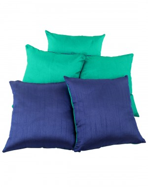 Solid Yarn Dyed Bluish Green Polydupion Reversible Cushion Cover