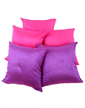 Solid Yarn Dyed Magenta Polydupion Reversible Cushion Cover