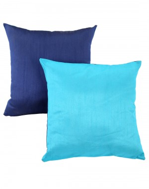 Solid Yarn Dyed Aqua Blue Polydupion Reversible Cushion Cover