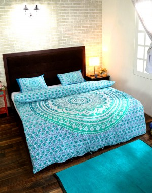 Turquoise Ombre Mandala Duvet Cover with Pillow Covers Bohemian Comforter Cover Mandala Donna Cover