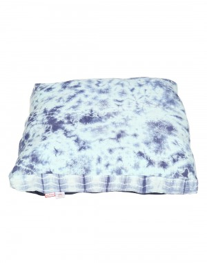 Abstract Tie Dye Dark Blue Cotton Slub Floor Cushion Cover