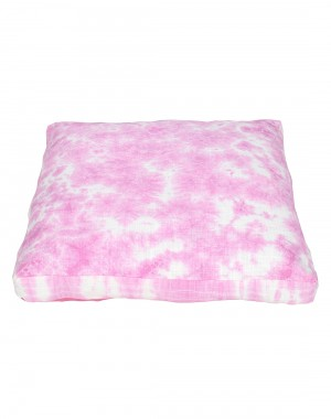 Abstract Tie Dye Fuchsia Cotton Slub Floor Cushion Cover