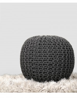 Charcoal Grey Hand Knit Pure Cotton Stuffed Pouf Braid Cord Stitched Round Foot Home Decorative Perfect Patio Seating, 20x14""