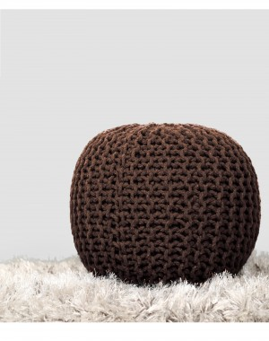 Cylindrical Round Floor Pouf Indian Cotton Cord Wrapped Ottoman Footstool Home Decorative Seating Bean Bag, Brown, 20x14""