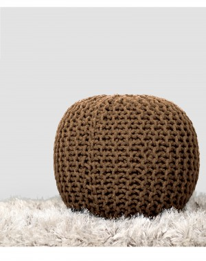 Cylindrical Round Floor Pouf Indian Cotton Cord Wrapped Ottoman Footstool Home Decorative Seating Bean Bag, Light Brown, 20x14""