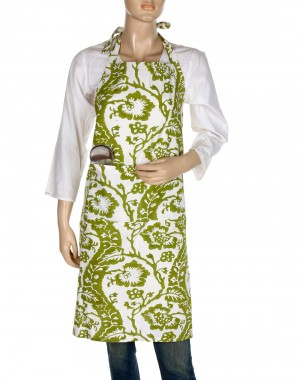 Floral Hand Block Printed Off White Cotton Apron
