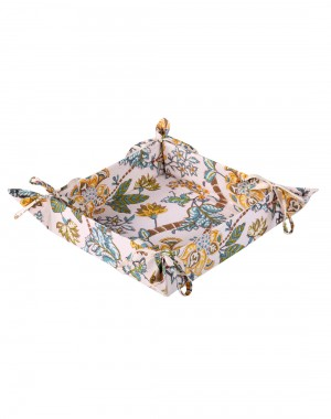 Floral Hand Block Printed Off White Cotton Bread Basket