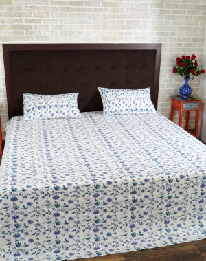 Floral Hand Block Printed White Cotton Bed Sheet (Set Of 3 Pcs)