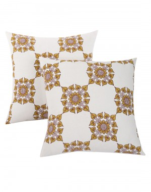 Floral Hand Block Printed Off White Cotton Cushion Cover