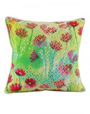 Rajasthani Decor Green Pillow Shams  Indian Style Cotton Throw Pillows Jaipuri Designs Single Cushion Covers Digital Printed Floral