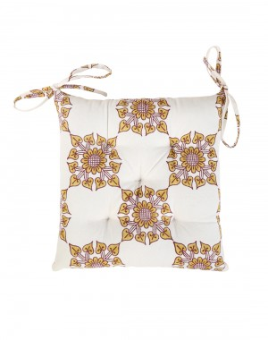 Floral Hand Block Printed Off White Cotton Casement Chair Pad