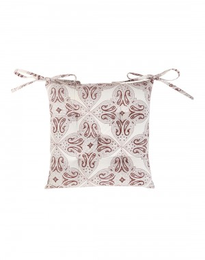 Leaves Hand Block Printed Off White Cotton Casement Chair Pad