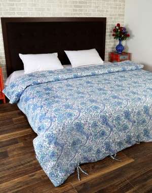 Floral Hand Block Printed White Cotton Duvet Cover