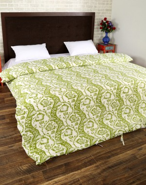 Floral Hand Block Printed Off White Cotton Duvet Cover
