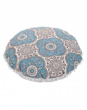 Floral Hand Block Printed Off White Cotton Canvas Floor Cushion Cover