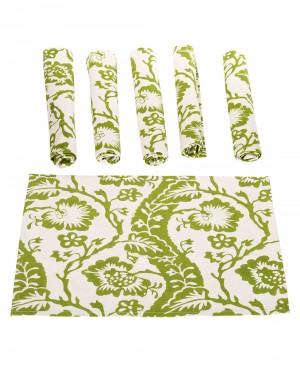 Floral Hand Block Printed Off White Cotton Canvas Placemat (Set Of 6 Pcs)