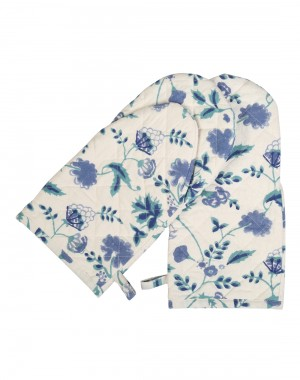 Floral Hand Block Printed White Cotton Oven Glove (Set Of 2 Pcs)