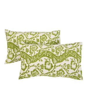 Floral Hand Block Printed Off White Cotton Pillow Cover (Set OF 2)