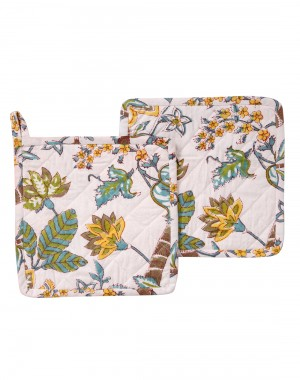 Beautiful Hand Block Printed Cotton Pot Holder White Floral By Rajrang