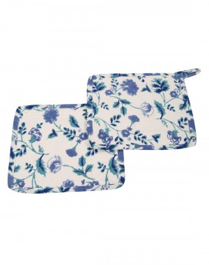 Comfortable Hand Block Printed Cotton Pot Holder White Floral By Rajrang