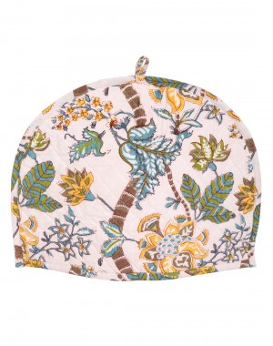 Floral Hand Block Printed Off White Cotton Canvas Tea Cosy