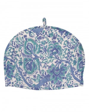 Floral Hand Block Printed White Cotton Tea Cosy