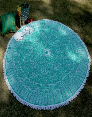 Indian Tapestry Mandala Round  Hippie Beach Throw Boho Yoga Mat Bohemian Cotton