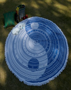 Round Cotton Tapestry Hippy Boho Tablecloth Beach Towel Yoga Mat