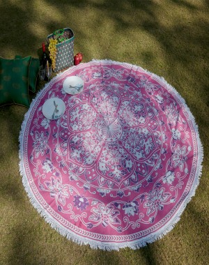 Floral Mandala Round Roundie Beach Throw Indian Tapestry Hippie Yoga Mat Decor