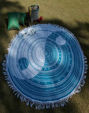 Aqua Green Lace Work round beach mandala tapestry