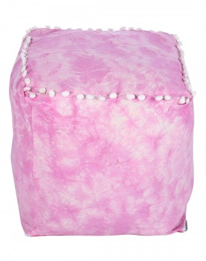 Cotton Casement Colorfull Fuchsia Pouf Cover