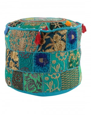 Indian Traditional Home Decorative Ottoman Handmade Pouf,Indian Comfortable Floor Cotton Cushion Ottoman Cover Embellished