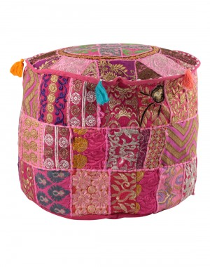 Indian Vintage Patchwork Ottoman Pouf , Indian Living Room Pouf, Foot Stool, Round Ottoman Cover Pouf, Floor Pillow Ottoman Poof,Traditional Indian Home Decor Cotton Cushion Ottoman Cover