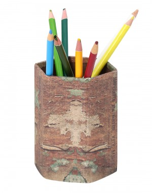 Cardboard Paper Vintage Printed Brown Pen Holder
