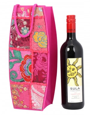 Pink Cardboard Paper Floral Patch Work Wine Bottle Holder