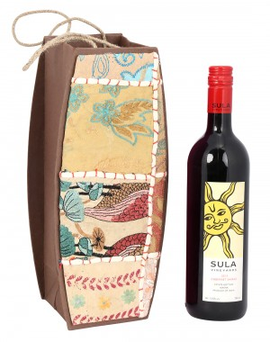 Cream Cardboard Paper Floral Patch Work Wine Bottle Holder