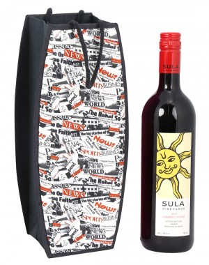 White Cardboard Paper News Paper Printed Wine Bottle Holder