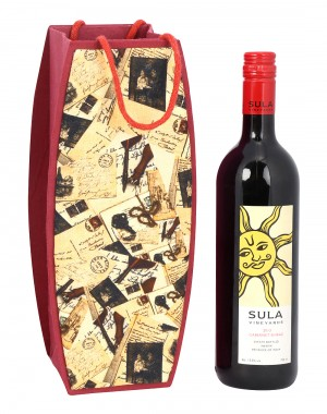 Cream Cardboard Paper Letter Printed Wine Bottle Holder